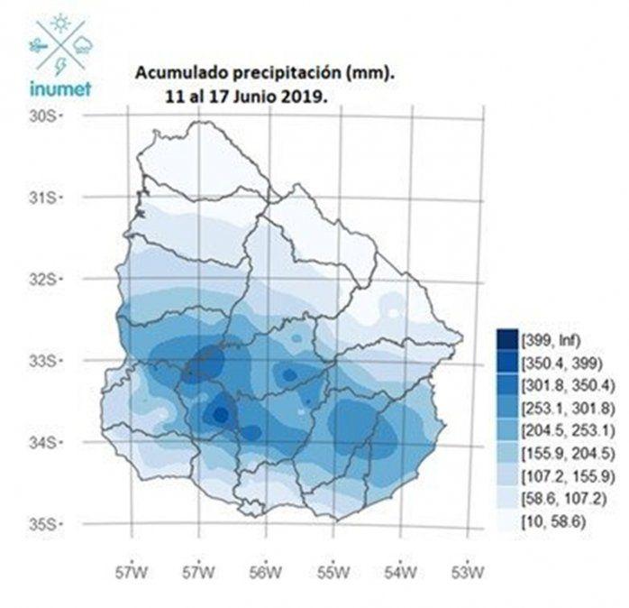 Casi 400 milímetros de lluvia acumulada durante la última semana en Flores