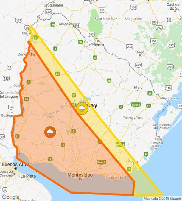 Otra vez alerta naranja por tormentas fuertes y lluvias intensas