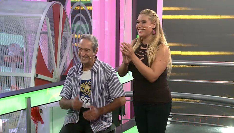 Jugando en Escape Perfecto junto a la periodista deportiva Daiana Abracinskas. Un buenhumor que no lo abandonó jamás