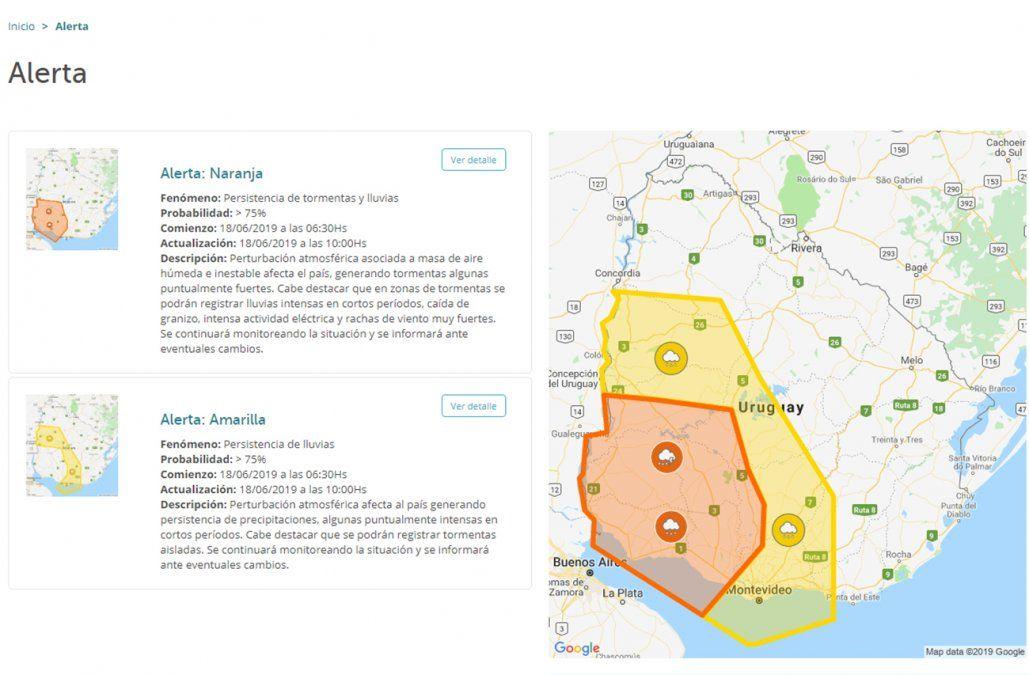 Doble alerta meteorológica en las zonas suroeste, litoral y centro sur del país