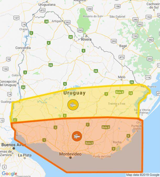 Doble alerta naranja y amarilla por vientos fuertes hasta el miércoles de tarde