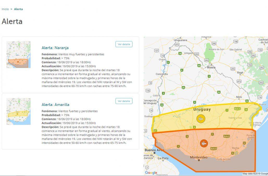 Alerta por vientos fuertes en el sur del país hasta la hora 15
