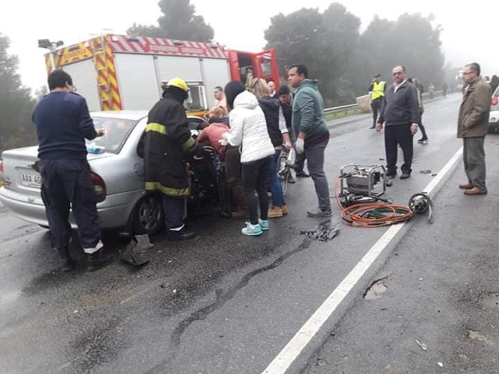 Múltiple choque en Ruta 9 con varias personas heridas a diez kilómetros de la ciudad de Rocha