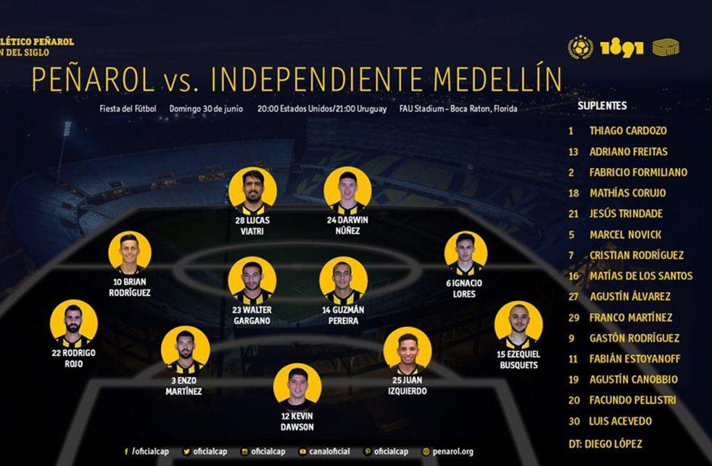 Peñarol empató con Independiente Medellín 3 a 3 en Miami