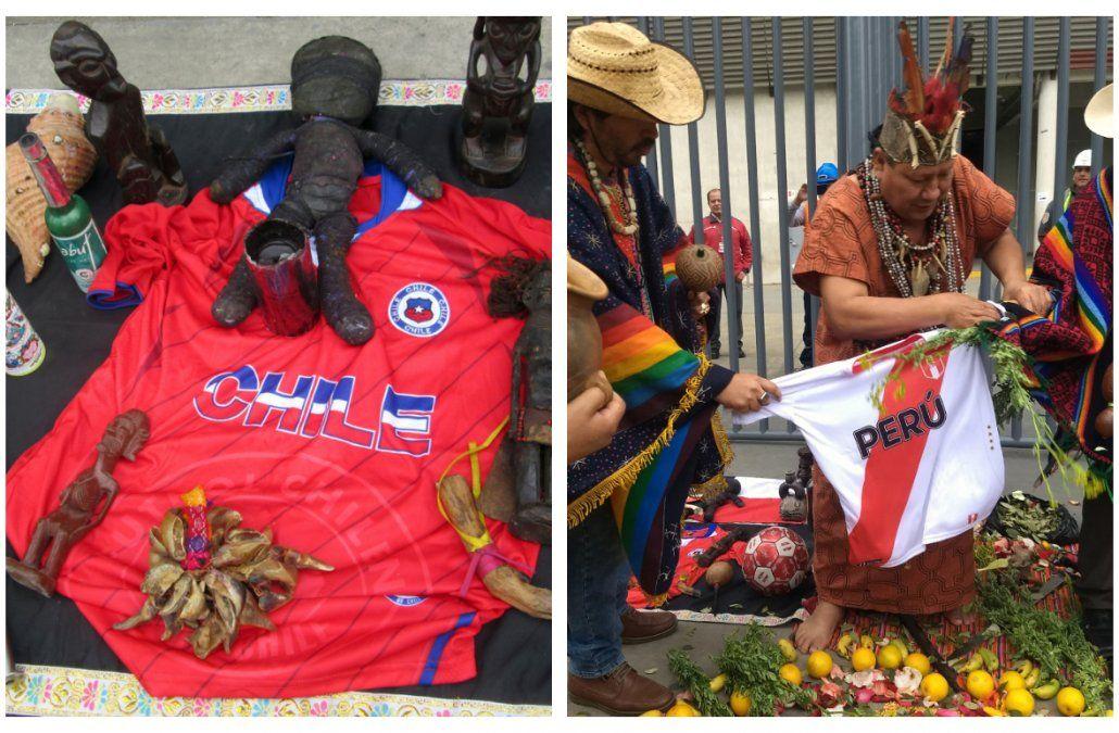 Chamanes andinos practican su magia buscando beneficiar a sus respectivos seleccionados y perjudicar al adversario.