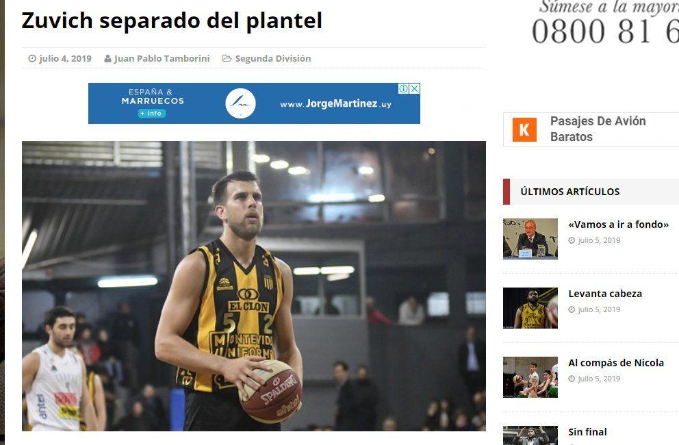 El portal Basquet Caliente identifica a Mariano Zuvich como el responsable de la conducta antideportiva