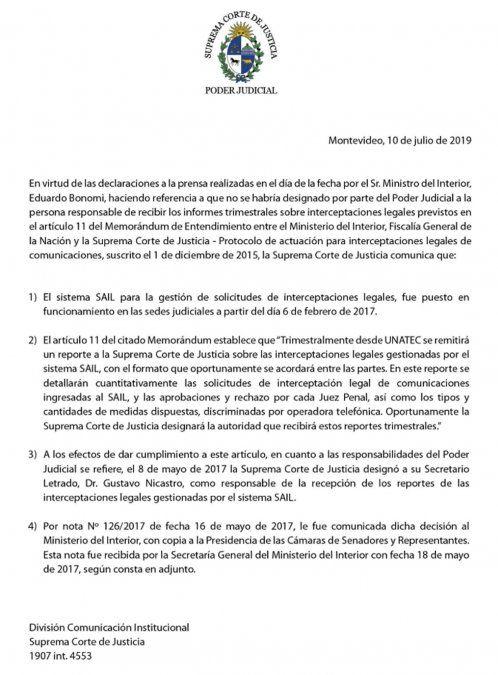 Nuevo cruce institucional entre la Suprema Corte y el ministro Bonomi por el Guardián