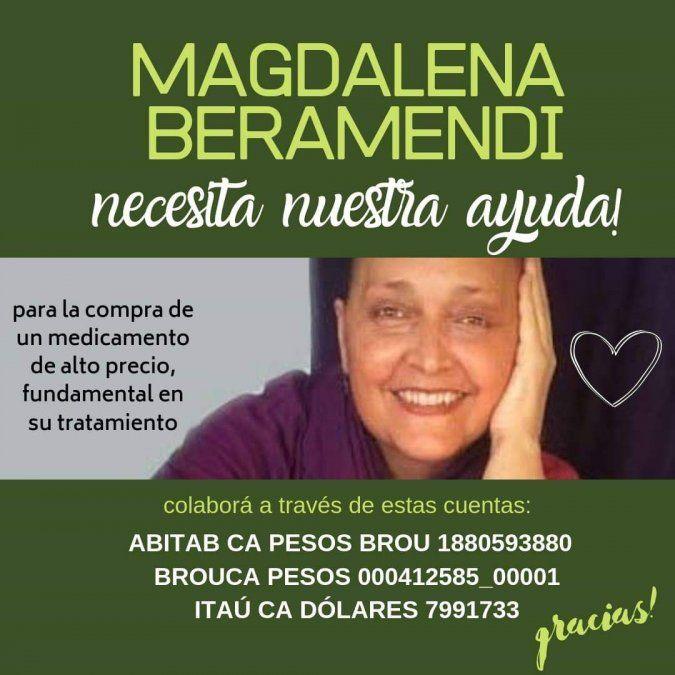 Magdalena Beramendi necesita un medicamento oncológico de alto costo