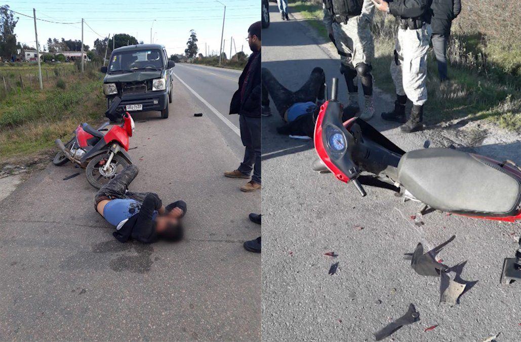 Repartidor rapiñado persiguió al delincuente, lo atropelló y logró detenerlo