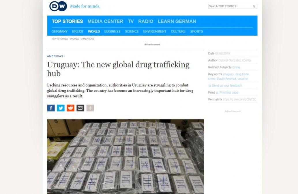 Uruguay señalado como el nuevo centro mundial del narcotráfico por medios internacionales