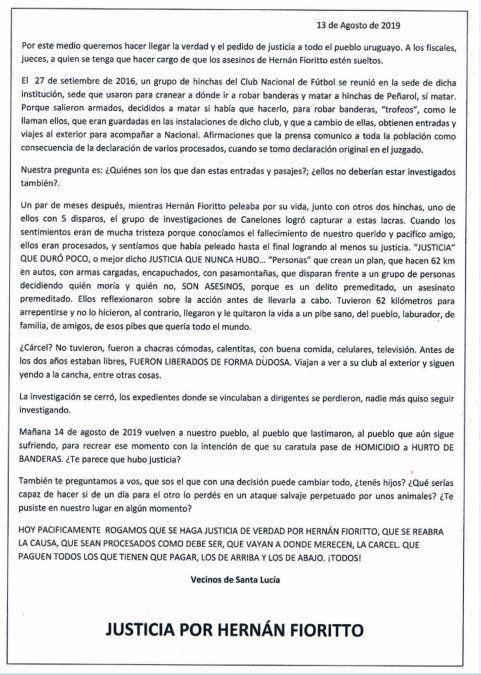 Suspenden reconstrucción del homicidio del hincha de Peñarol Hernán Fiorito por amenazas