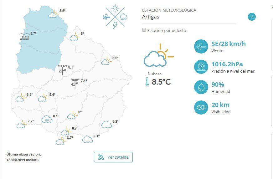 INUMET advierte por bajas temperaturas este lunes y martes