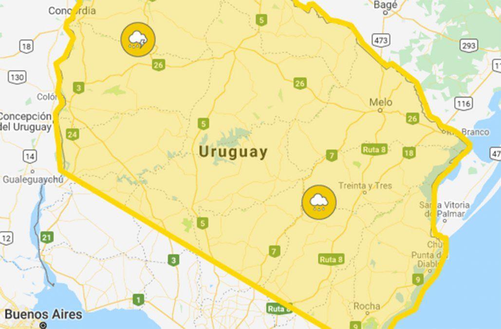 Alerta amarilla por tormentas fuertes para el noreste del país