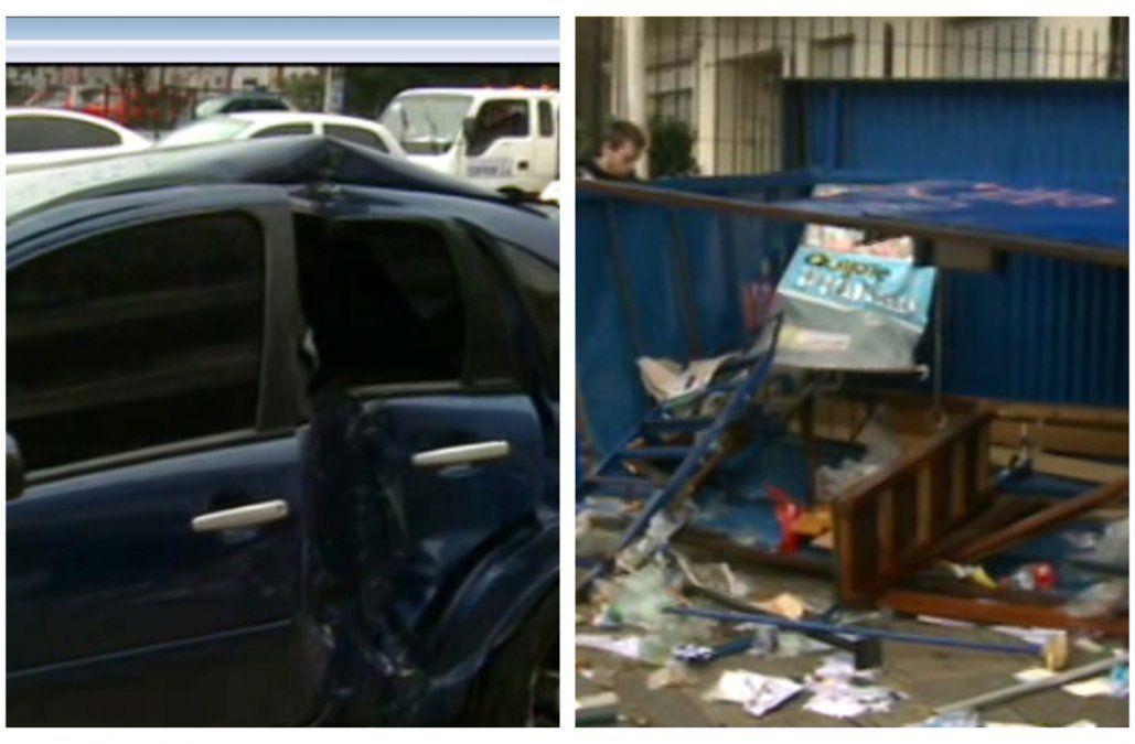 Auto despistó en Bulevar España, atropelló un quiosco e hirió a su dueño