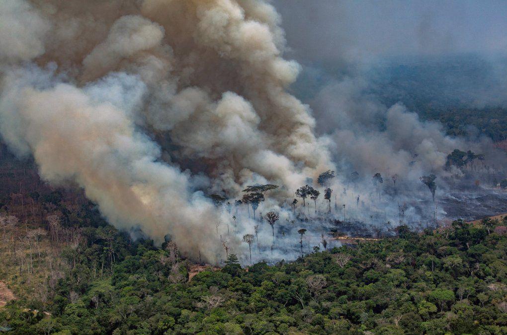 Una captura aérea de Greenpace muestra el humo de los incendios en el Amazonas