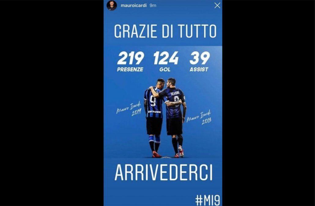 La despedida de Mauro Icardi consigo mismo del Inter de Milán