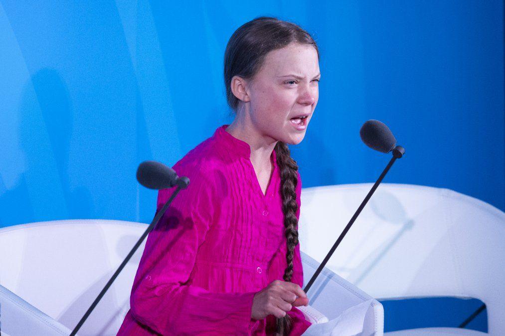 La joven activista Greta Thunberg habla durante la Cumbre de Accción Climática de ONU