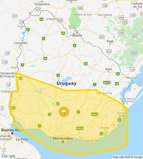 Extienden alerta amarilla por tormentas fuertes para casi toda la mitad sur del país