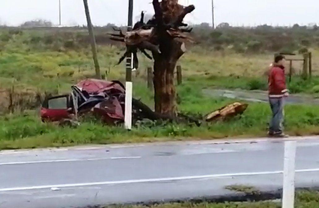 Una mujer de 35 años murió al chocar su auto contra un árbol en ruta 1