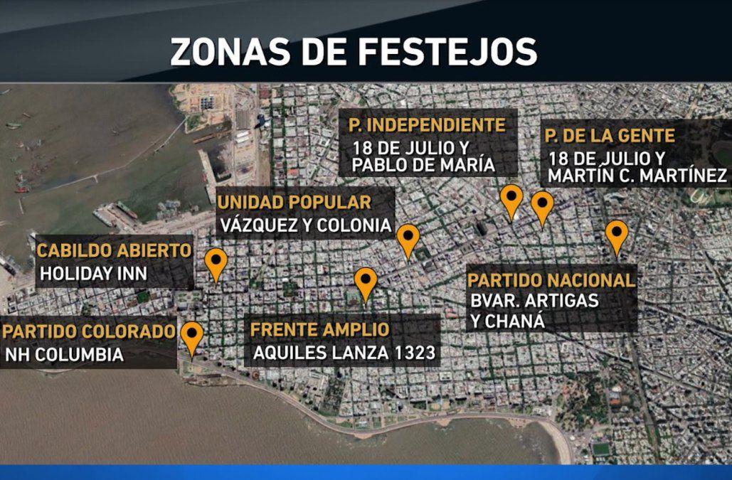 Los lugares de concentración de los partidos políticos el próximo domingo
