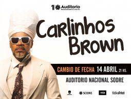 Nueva fecha para el show de Carlinhos Brown en el Sodre