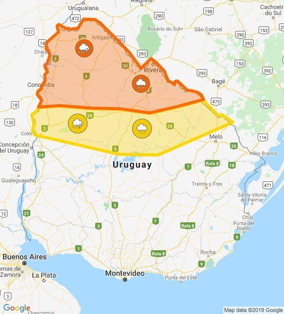 Alertas por lluvias y tormentas continúan en departamentos al norte del Río Negro