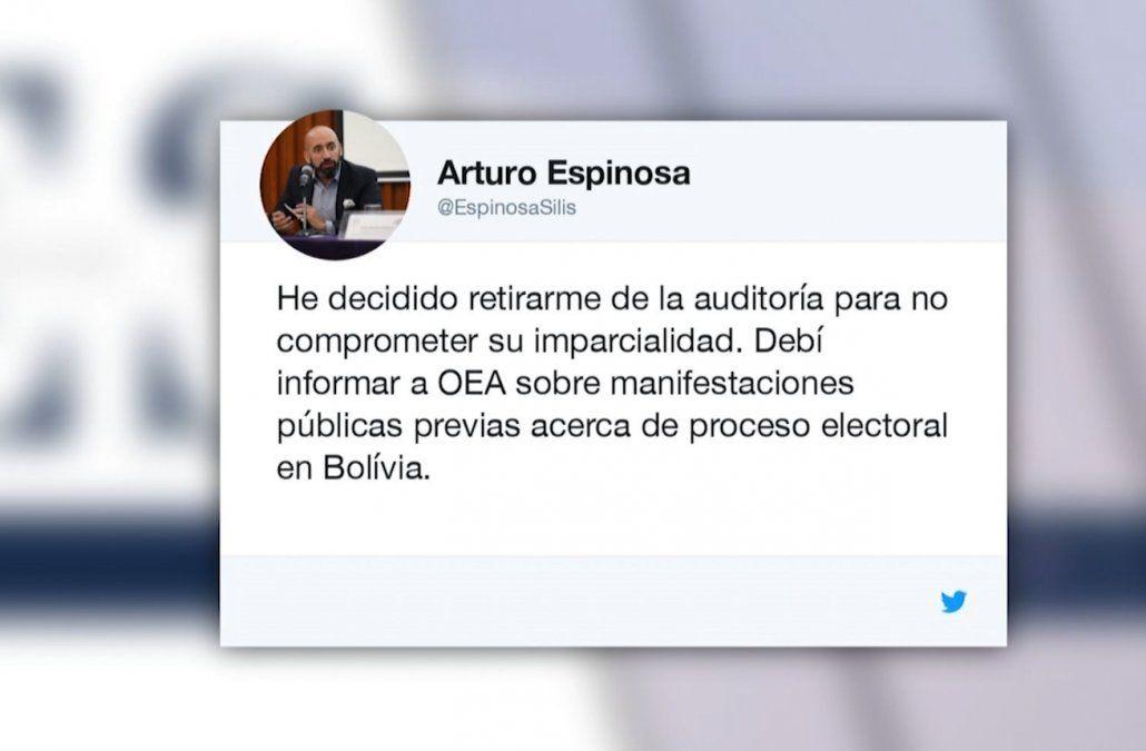 Jefe de la misión de OEA que audita elecciones de Bolivia renunció el pasado viernes