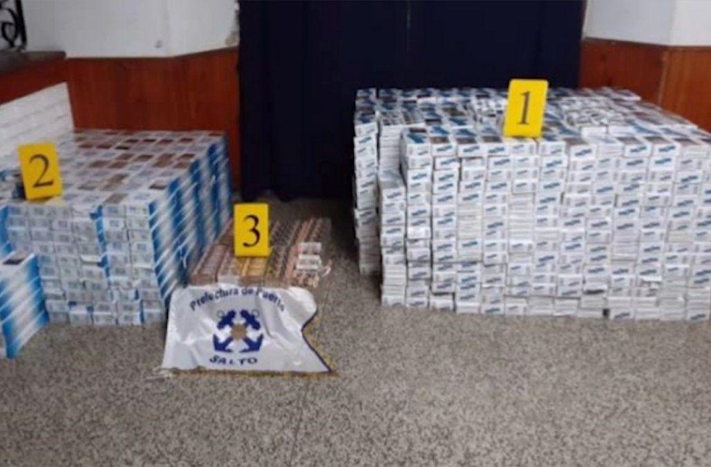 Armada incautó importante cargamento de cartones de cigarrillos en Salto