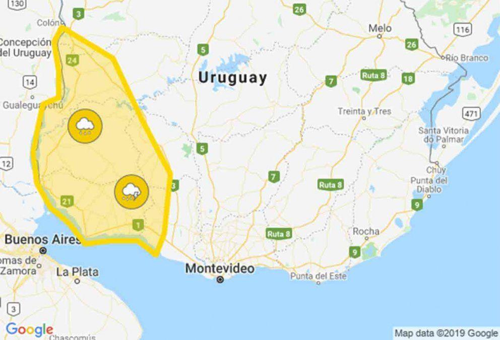 Alerta amarilla por tormentas fuertes en seis departamentos
