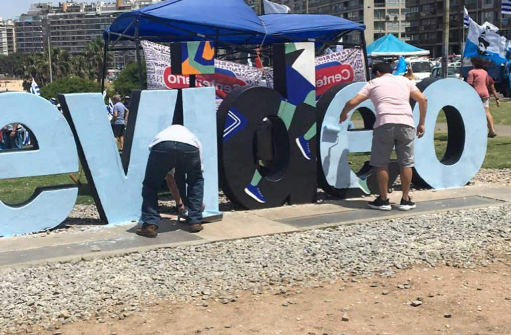 Intendencia intima al Partido Nacional por pintar el cartel de Montevideo de Kibón