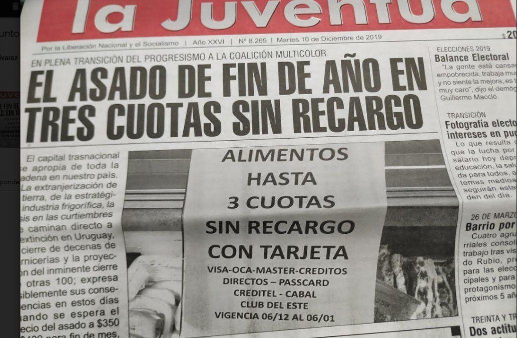 La portada de hoy del diario La Juventud donde se deja constancia de la oferta de tres cuotas sinrecargo para falda parrillera en un supermercado de Florida