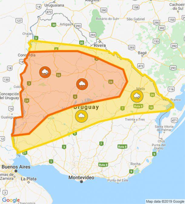 Tres advertencias naranja por tormentas fuertes y lluvias intensas durante el sábado