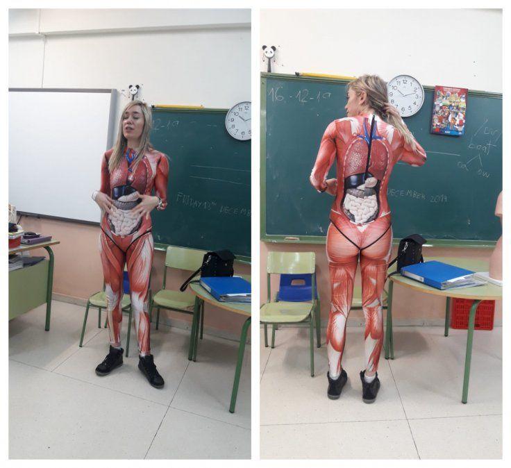 La maestra Verónica Duque comenzó a ser imitada apenas se conoció el video viral de sus clases de biología humana