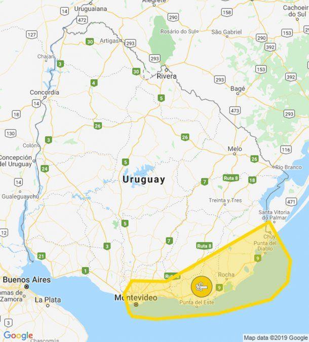 Extienden alerta amarilla por vientos fuertes y persistentes, desde Montevideo a Rocha