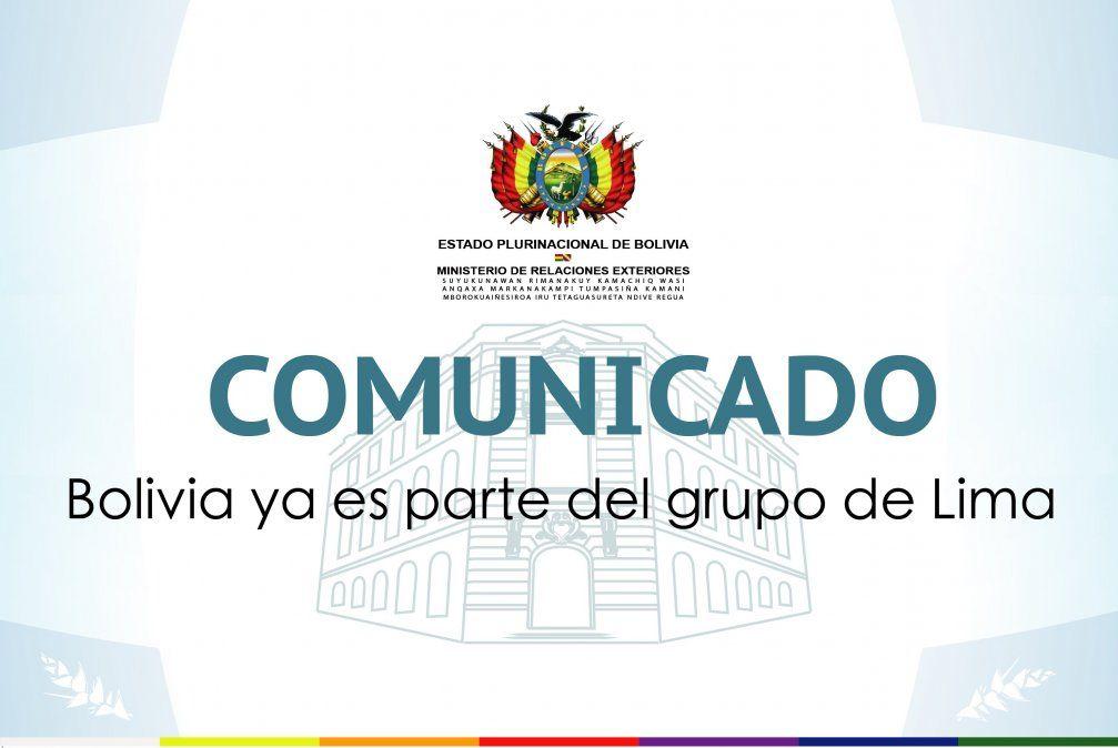 Bolivia se suma al Grupo de Lima buscando salida pacífica a crisis venezolana