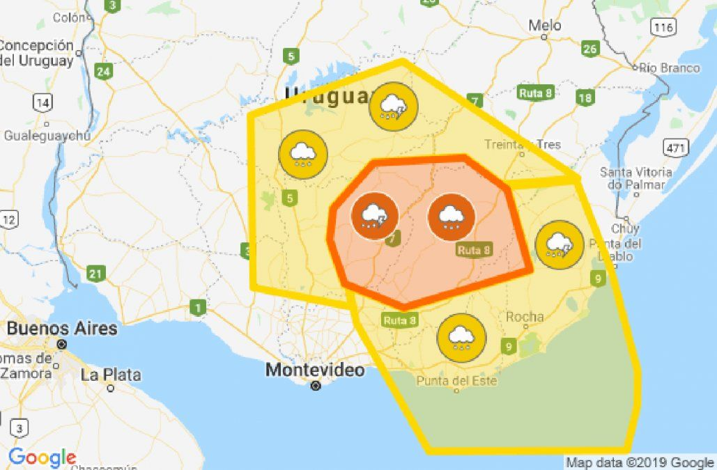 Alertas naranja y amarilla vigentes para algunos departamentos del sur del país