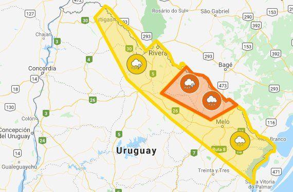 Alerta amarilla y naranja por tormentas y lluvias intensas para departamentos del noreste