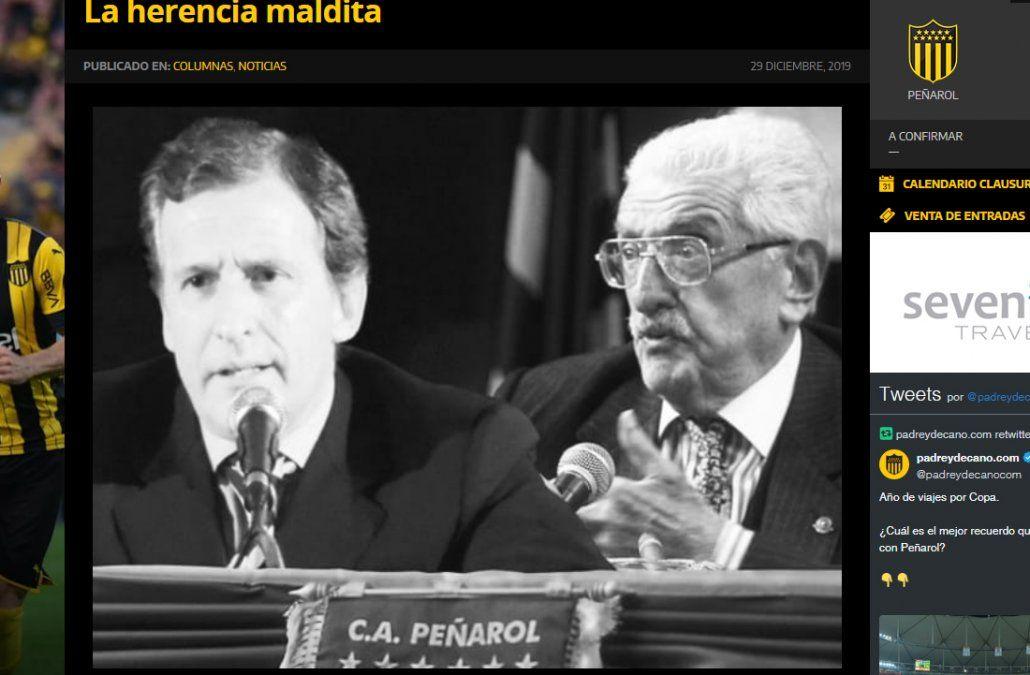 La página web Padre y Decano criticó con dureza la gestión de los Damiani al frente de Peñarol