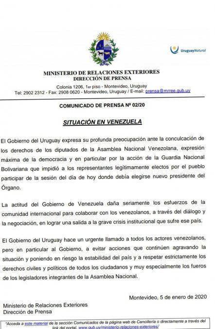 Cancillería uruguaya lamentó bloqueo madurista a Guaidó en el Parlamento de Venezuela