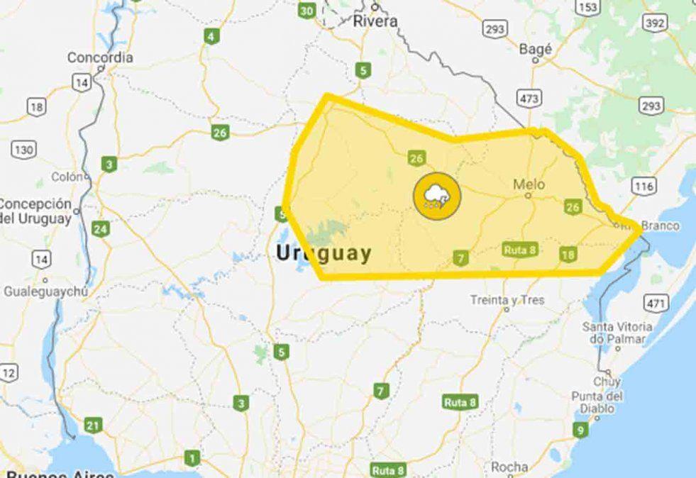 Alerta amarilla por tormentas fuertes para varios departamentos