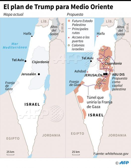 La difícil propuesta de solución de Trump para unir a Israel y Palestina en Jerusalén