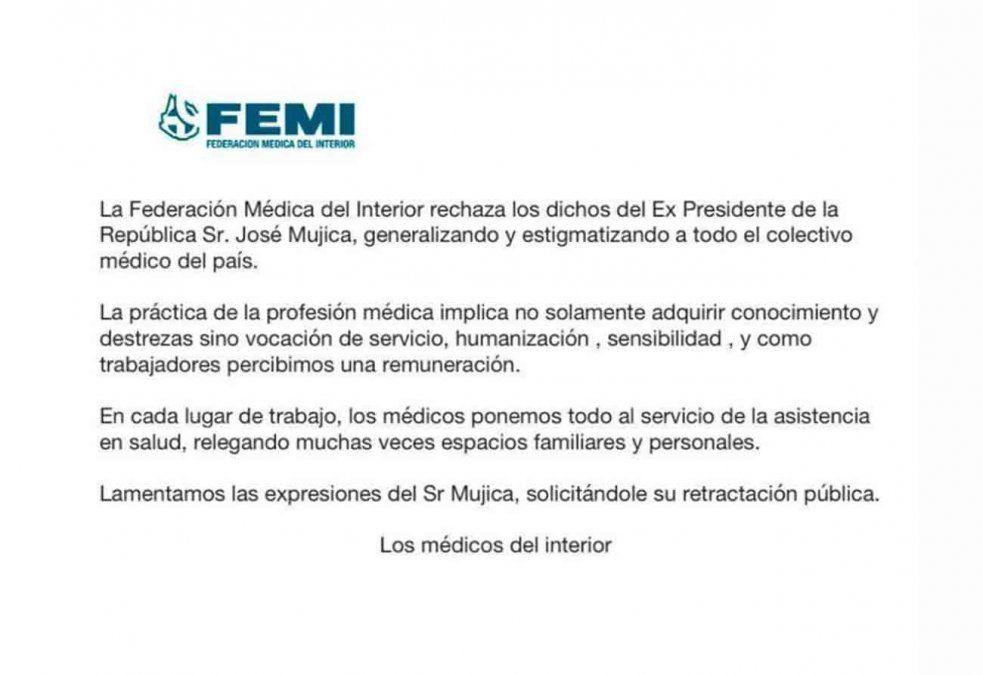 FEMI rechazó dichos de Mujica sobre la acumulación de dinero de los médicos