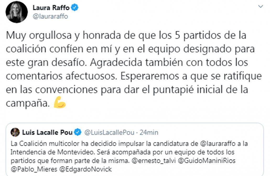 Laura Raffo agradeció su postulación y dijo que es un gran desafío de la coalición