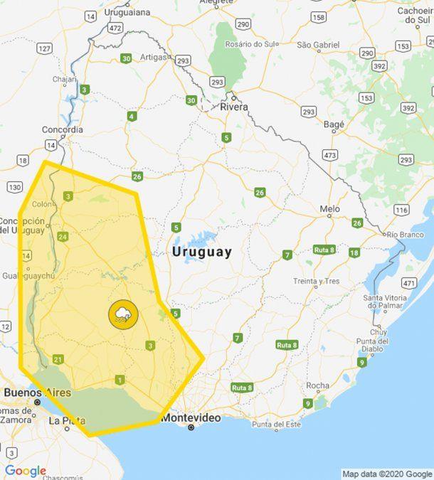 Alerta amarilla por tormentas fuertes afecta parte del litoral, centro y sur del país