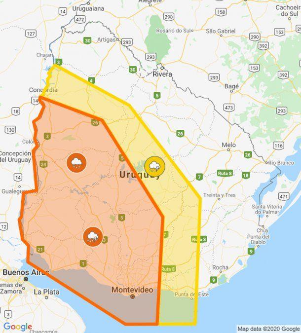 Amplían zona de alerta naranja por tormentas fuertes y lluvias intensas