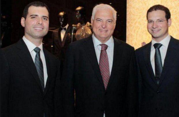 El expresidente Martinelli y sus hijos.