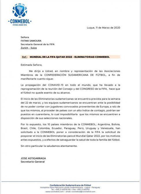 Coronavirus: selecciones sudamericanas, entre ellas Uruguay, piden a FIFA suspensión de Eliminatorias