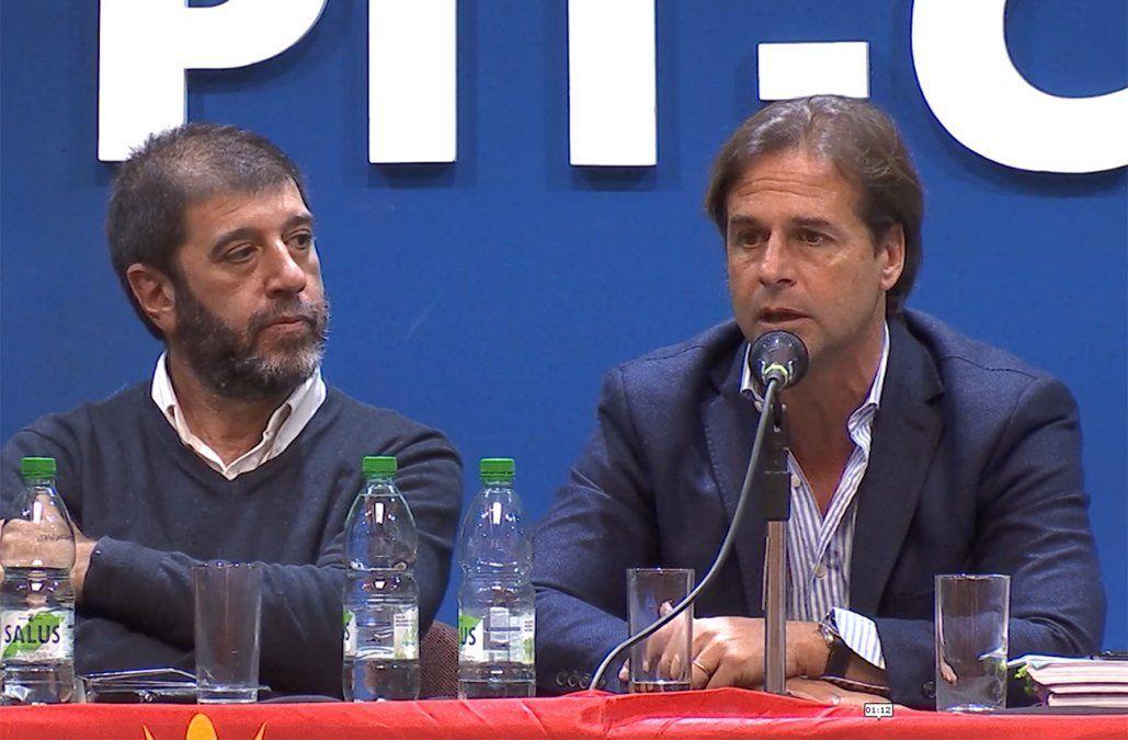 Lacalle Pou recibido como candidato presidencial en el PIT-CNT. Hablaron sobre el futuro dde las relaciones laborales. Ni Fernando Pereira ni Lacalle Imaginaron la crisis que vendría