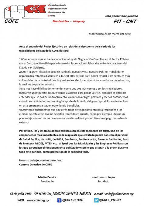 Lacalle Pou anuncia rebaja salarial a públicos de 5 a 20% para salarios superiores a $ 80.000