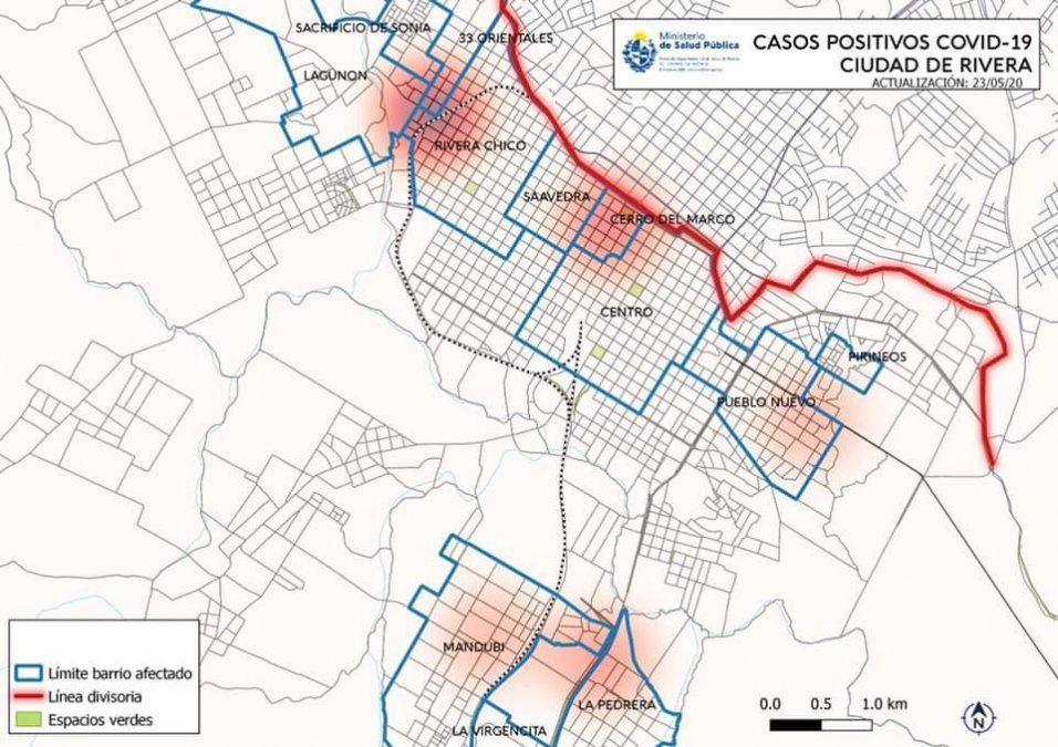 Zonas afectadas por Covid-19 en Rivera